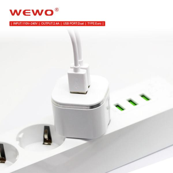 Chargeurs de téléphone rapide d'origine WEWO 5V 2.4A Dual usb ports Portable i chargeur de téléphone pour le voyage à domicile de haute qualité accessoires de téléphone cellulaire