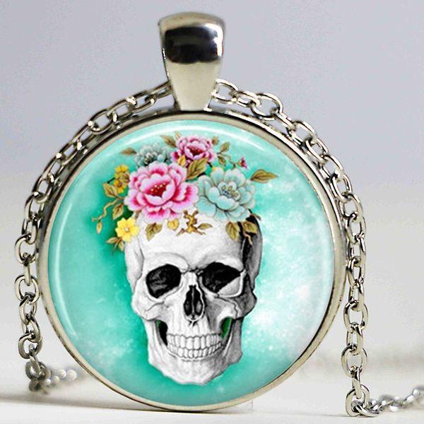 Стимпанк ювелирные изделия череп ожерелье цепи сахар череп ювелирные изделия стекло кабошон кулон ожерелье ювелирных изделий Рождественский подарок для женщин