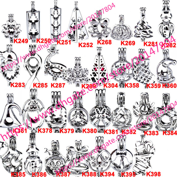 best selling 398 Designs - WITHOUT Akoya Oyster Bead Pearl Cage Gift Cage Locket Pendant Open Wish Charms