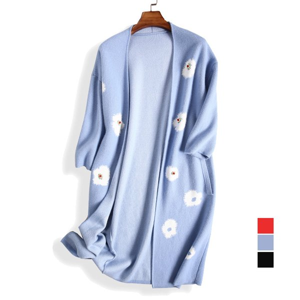 Vente en gros- Femmes Point ouvert laine Cardigans Pull motif fleuri Vison Cachemire comme 2017 PRINTEMPS