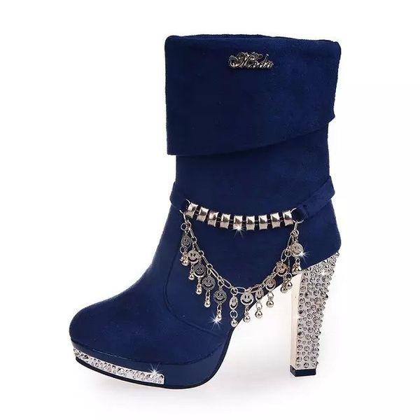 Mode avant femmes bottines en daim en cuir chaussures courtes bottines chaussures à talons hauts femme robe de mariée en strass chaussures femmes pompes Article n ° XZ-009