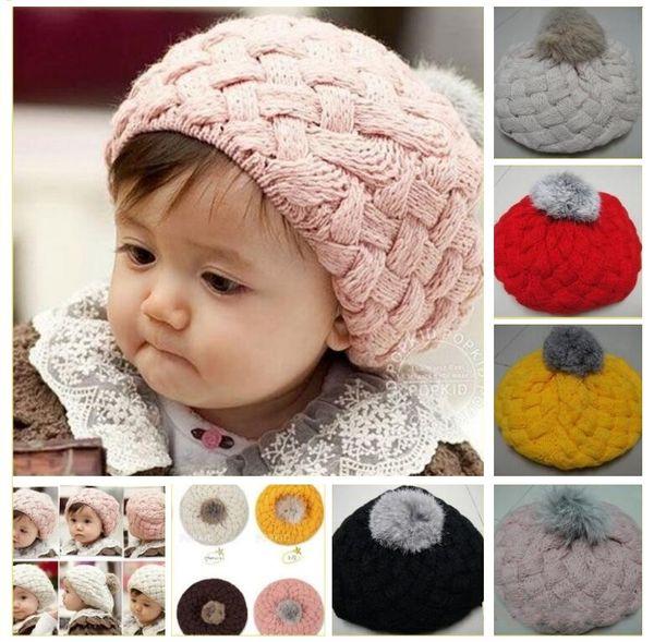 Infant Baby Boy Girls Berets Hat Handmade Knitted Crochet Wool Children Beanie Cap Winter Kid Hats with Pom Pom Red Pink Beige