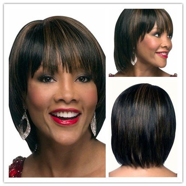 Xiu Zhi Mei Highlights Brown Black Cheap Bob Wigs With Bangs Heat Resistant Synthetic Cutting Straight Hair For Women Free Shipping