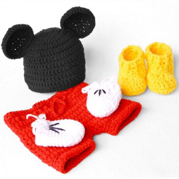 Knit Adorable Newborn Cartoon Mouse Costume,Handmade Crochet Baby Girl Boy Animal Beanie Hat,Shorts,Booties,Gloves Set,Infant Photo Prop
