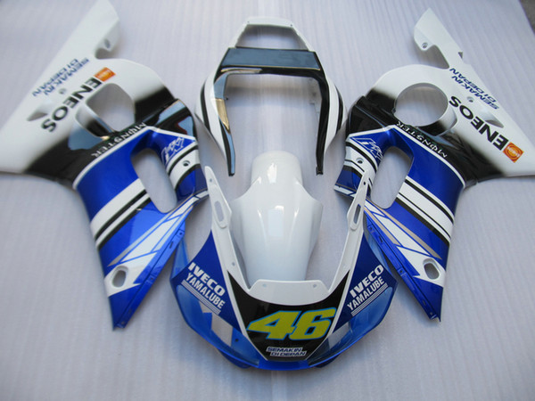 Aftermarket moto parts Fairing kit for Yamaha YZF R6 98 99 00 01 02 white blue fairings set YZFR6 1998-2002 OT10