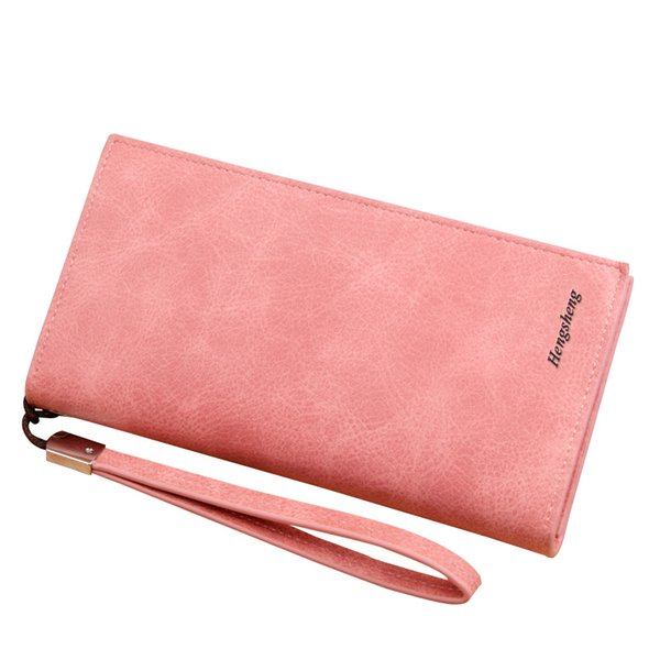 Wholesale- Solid smooth leather long Women wallet with removable wrist strap brand designer female clutch purse carteira feminina