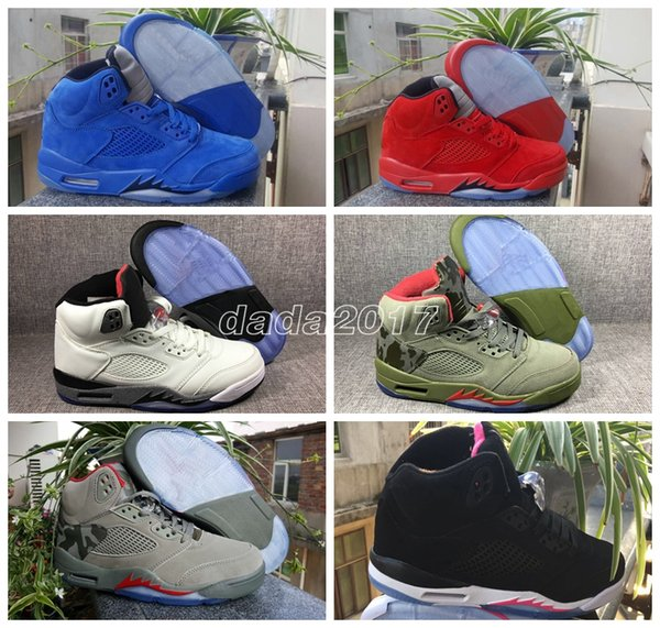 2018 New 5 V Raging Bull Red Suede Blue Reflective Men Basketball Shoes Sports trainers mens Sneakers top quality Wholesale Size 5.5-12