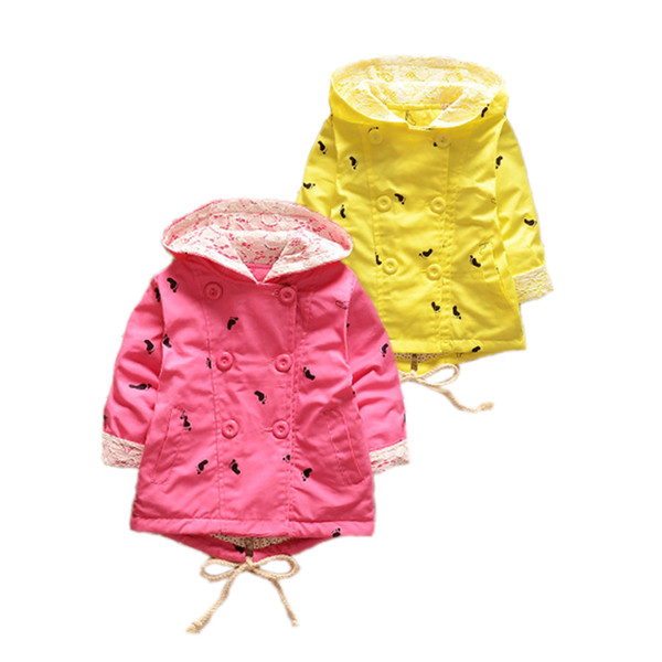 cute baby girl causal trench coat European style cotton coat for 9-36M girls of baby newborn infant outerwear coat clothes hot