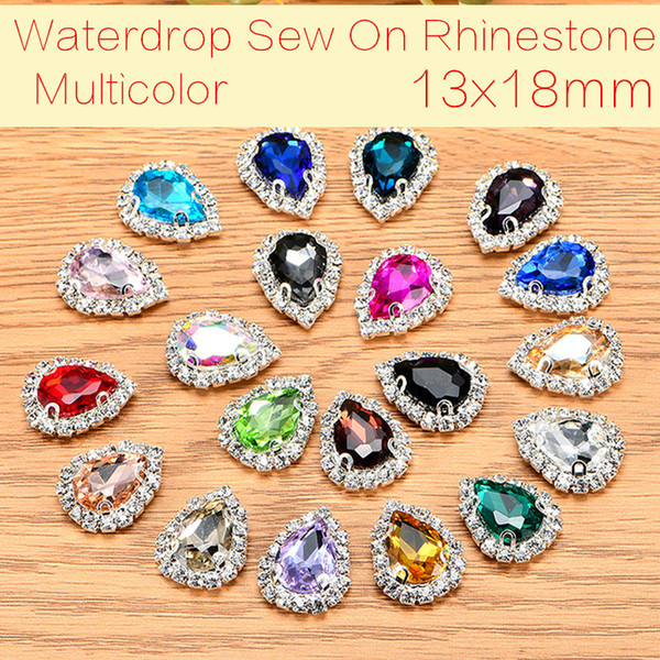 best selling Teardrop 50pcs lot Glass Crystal Buttons Sew On Rhinestones With Claw DIY Decoration Jewelry Accessories 13x18mm