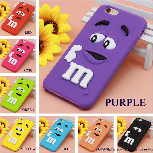 Best Quality Cartoon M&M's Chocolate Candy Rubber Case For iPhone 6 6S 7 Plus 4 4S 5C SE 5 and 5S Soft Silicone Back Cover Fundas