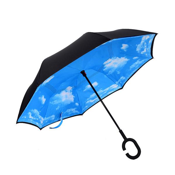 C-Hook Reverse Rain Umbrella Windproof Umbrella Long Shank Parasol Inverted Double Layer Creative Protection Umbrella Travel