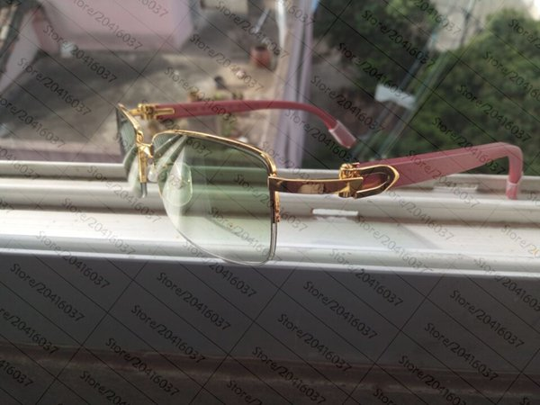 2017 Beyaz Manda Boynuzu Gözlük Erkekler Güneş Gözlüğü Çerçevesiz Marka Tasarımcısı Kadın Gözlük Manda Boynuzu Gözlük El Yapımı