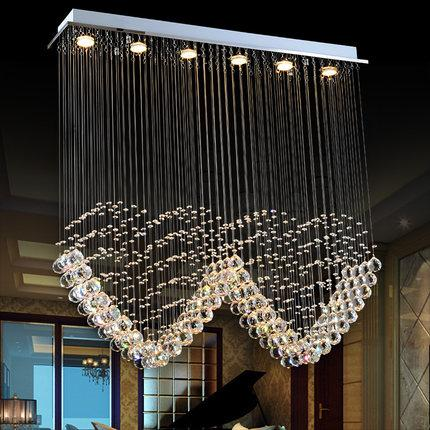 High-end LED crystal ceiling chandeliers modern heart shape rectangle led chandelier pendent lamps for dinning room villa hotel hall home