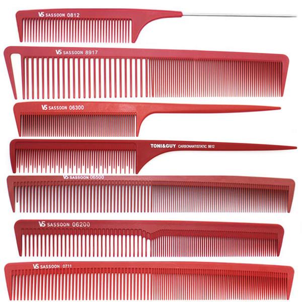 Großhandelsheißer verkaufender 7 PC roter Haar-Schnitt-Kamm-Satz, Berufssalon-Frisierkamm im unterschiedlichen Entwurf, Frisuren-Kohlenstoff-Kamm V-94