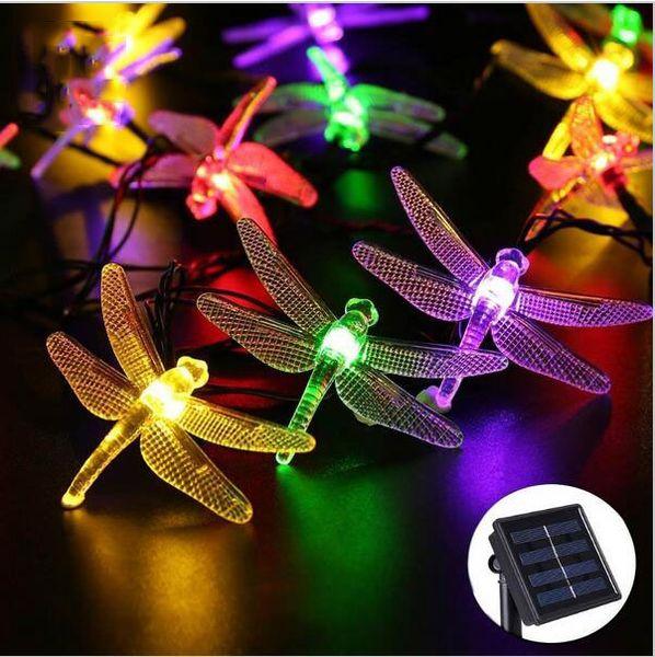 Outdoor Solar Led String light 5M 20Led dragonfly Solar Panel Strip light IP65 Waterproof Garden Holiday Decorative Lights