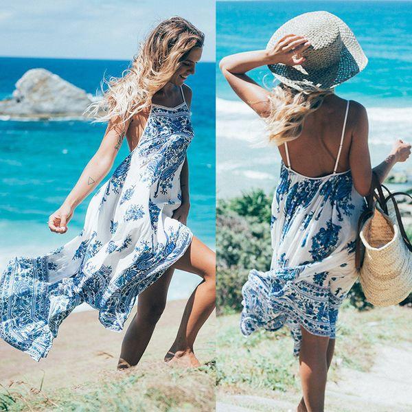 MMCP-Women V-Neck Print Sleeveless Bodycon Beach Sundress Party Club Maxi Dress