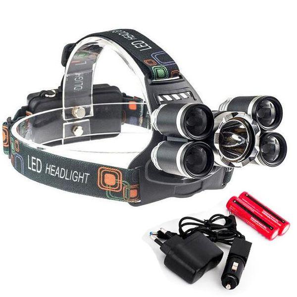 Linterna de 5 LED 8000 lúmenes Cree XM-L T6 Lámpara de cabeza Lámpara de alta potencia LED + 2pcs 18650 Batería + Cargador + cargador de coche
