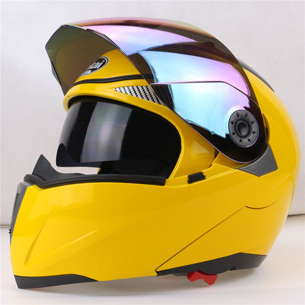 Wholesale- Professional Double Glass Motorcycle Helmet Jiekai Flip Up motorbike Helmet 22 option available with internal black sunglass