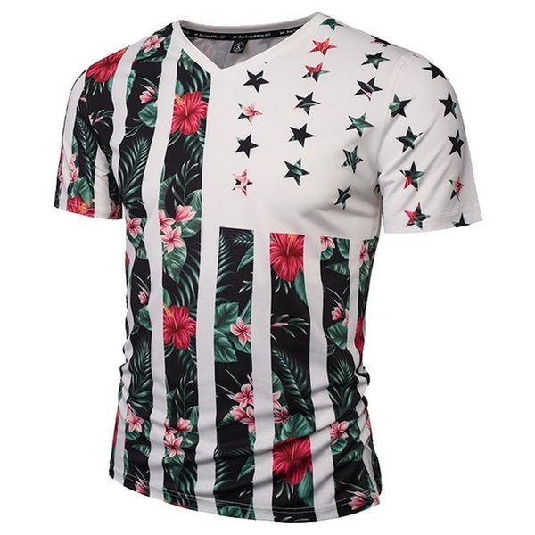 3D T Shirt ABD Bayrağı Çiçekler T-shirt Erkekler / Kadınlar Moda Marka Tshirt Baskı Kafatasları Ağaçlar V Yaka Yaz T gömlek Tees Tops