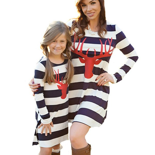 2017 Christmas Mother and daughter dresses Reindeer Striped dresses for women Family Matching Outfits Kids Baby girl Dress Spring Fall
