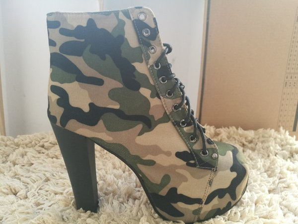 High Heel Boots European Camouflage Canvas Army Boots Lace Up Girls Super 14cm Bottom High Heel Pumps Woman Fashion Autumn Shoes