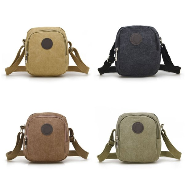 Wholesale- Vintage Canvas Men's Crossbody Over Shoulder Messenger Bags Handbag Leisure Travel Bag 4 Colors