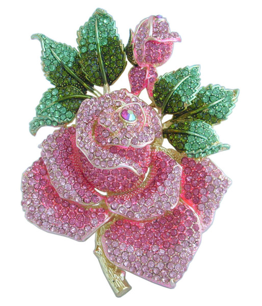 "Fashion pins brooches for women Gorgeous 5.32"" Gold-Tone Pink Rhinestone Crystal Rose Flower Brooch Pin EE02994C12"