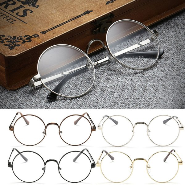 abdb058e21a Wholesale- Vintage Gold Oval Eyeglass Frame Man Women Plain Glass Clear Full-Rim  Spectacles
