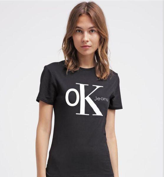 T-shirt à manches courtes Femme Coton O-Neck Tees Lettre T-shirt Loose Top Confortable WCK19H