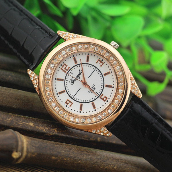Free shipping!Factory price!PVC leather,gold plate alloy case,rhinestone circle under glass,gerryda fashion woman lady leather watch,624