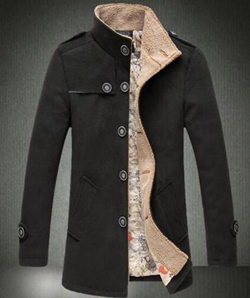 Han edição longa grande homem inverno na Europa e os estaleiros de mercadorias de alta qualidade e pilha top grau trincheira casaco / M-5XL