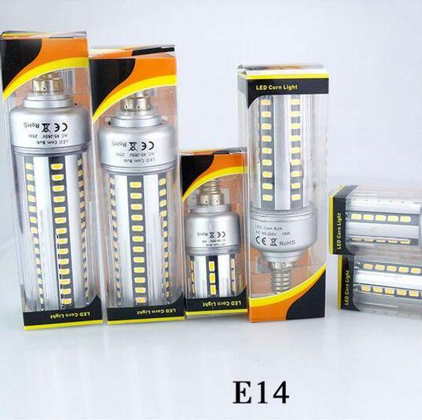 Full Aluminum Cooling E27 E14 5W 7W 9W 12W 15W 18W 20W LED Corn light lamp No Strobe AC85V-265V 5736SMD LED Spotlight Bulb