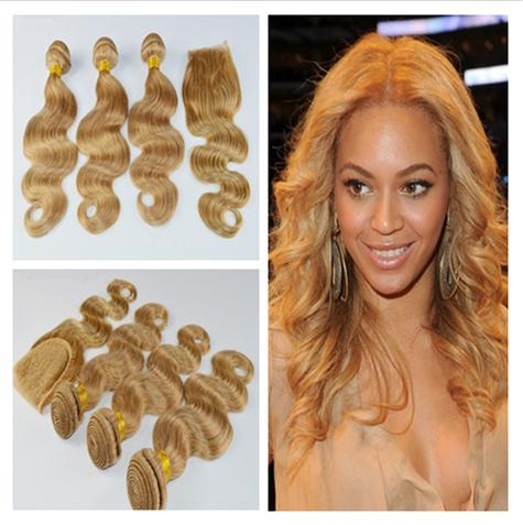 9A Virgin Brazilian Honey Blonde Hair With Closure Body Wave 4x4 Lace Closure With Weaves Strawbery Blonde 3Bundles With Closure 4Pcs Lot