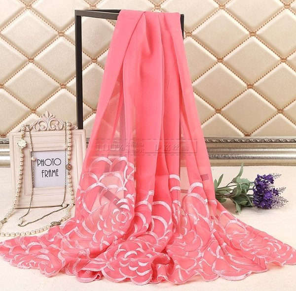 Wholesale- 25% Discount for 10 pcs or more Hot Sale 100% Silk Scarf Muslim Hijab Muffler Shawl Embroidery quality Wrap Floral New Scarves
