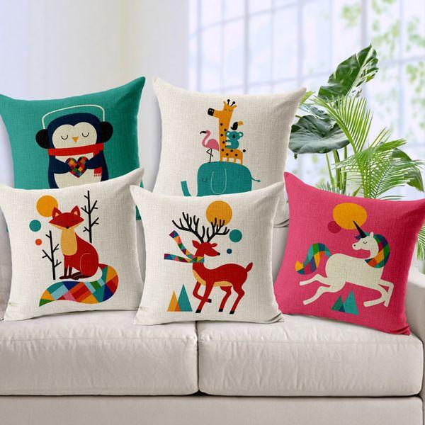 18x18 Pouces Bande Dessinée Hérisson Zèbre Housse de Coussin Art Peint à La Main Taie D'oreiller Coton Lin Taie D'oreiller Coussins Retour Coussins
