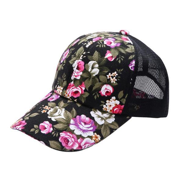 Wholesale- Women Hat Mesh Baseball Cap Female Floral Printed Hat Leisure Visor Sun Cap UY7