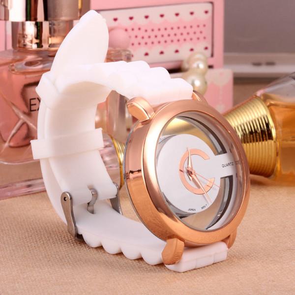 zichen080514 / Fashion women Girls Hollow out dial Silicone strap quartz quartz wrist watch 6108G