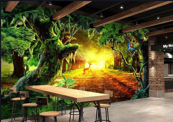 Wandbild 3d Wallpaper Wallpapiere Fr Tv Backdrop Sonnig Wald Baum Wohnzimmer Voller Szene Fernseh