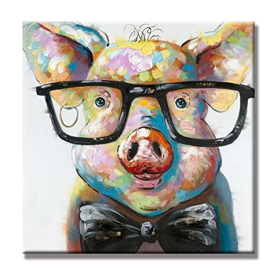 Free Shipping Hand Painted Oil Painting Animal Smart Pig Unframed 24X24inch Wall Art Canvas Art for Home Decoration
