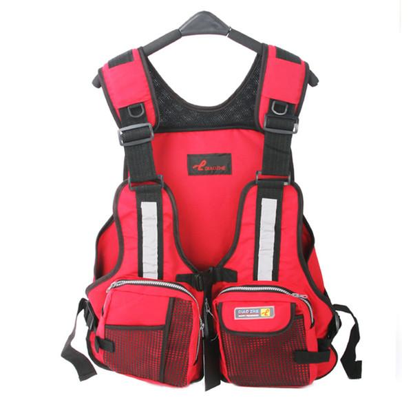 Wholesale- New Adult Safety Swimming Buoyancy Aid Sailing Life Jacket Floating Vest Adjustable Fishing Clothing With Multi-Pocket