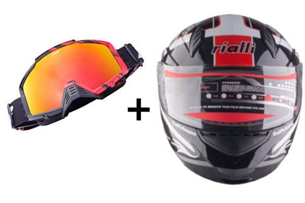 RIALLI Motorcycle Helmets Motorbike Full Face+Off-Road Racing Motocross ATV Bikes Motorcycle Goggles