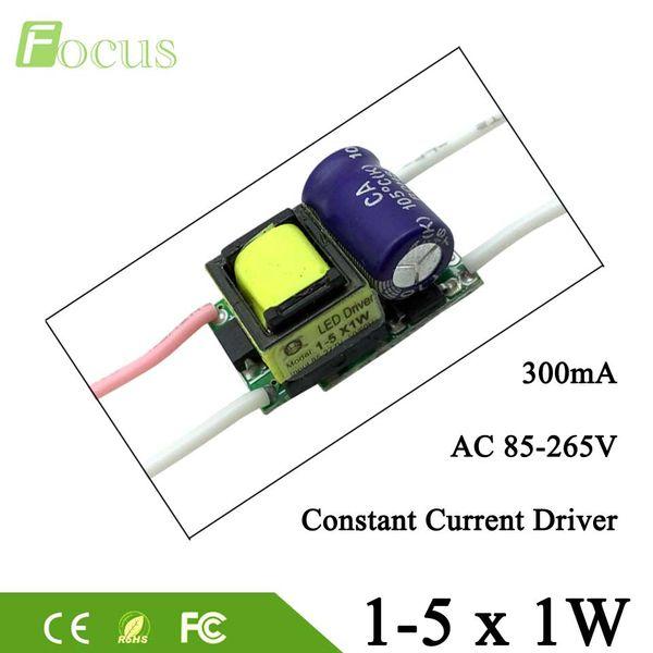 10pcs 1-5 * 1W LED Driver 1W 2W 3W 4W 5W Driver lampada Alimentazione Trasformatore di luce AC85-265V Uscita 300mA Per 1 Watt Light Beads