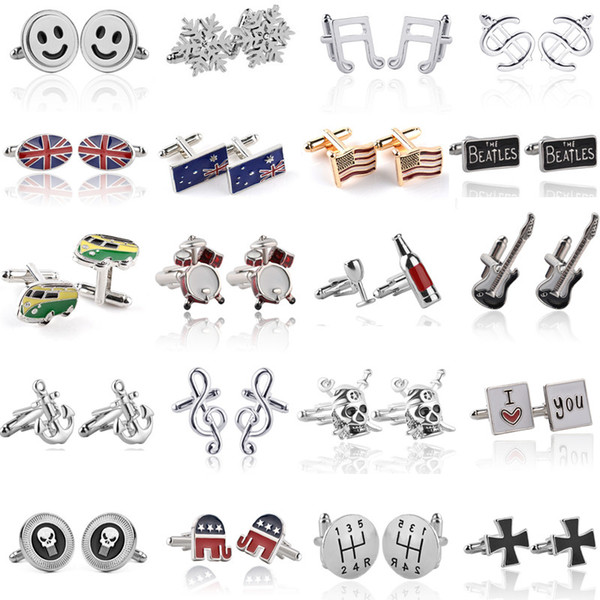 top popular Fashion Men Cuff Links Jewelry Funny Alloy Skull Anchor Snowflake Elephant Innovative Silver Gold Plated Cufflinks Shirts Suits Accessories Gift 2021
