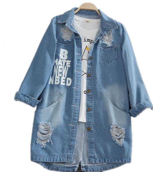 Al por mayor-6XL Mujeres Primavera Turn Down Collar Slim Denim coat Hole manga larga Ladies Washed Denim Jacket Women Coat de gran tamaño W505