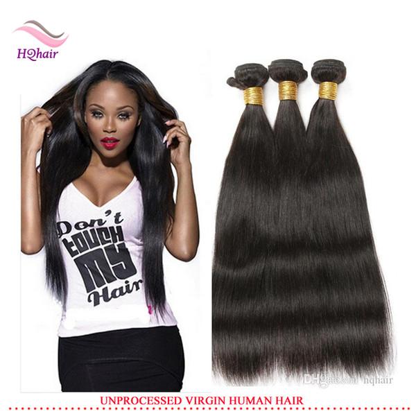 Meilleur Qualité Vierge Indien Cheveux Humains Armure 3 pcs / Lot Droite Bundles Cheveux Non Transformés Brésilien Péruvien Malaisien Extension de Cheveux 8-30 Pouce