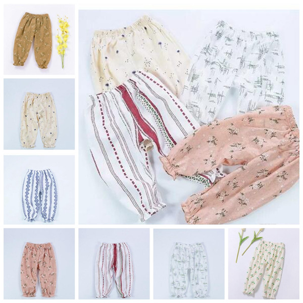Baby Trousers Linen Floral Flower Pants Infants Casual Elastic Print Bloomers Summer Newborn Toddler Air Condition Clothing Trousers J294