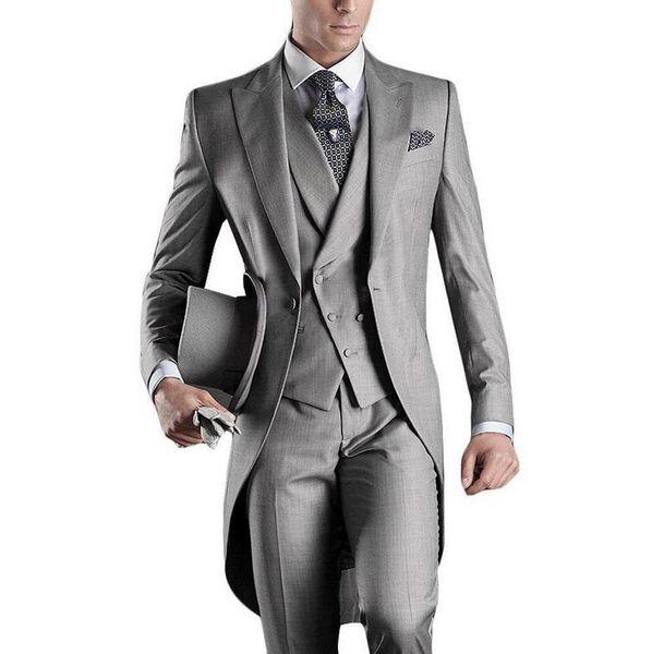 Wholesale- Best Selling 2016 Custom Mens Suits Italian Tailcoat Gray Wedding Suits For Men Groom Mens Tuxedo Suits (Jacket+Pants+Vest)