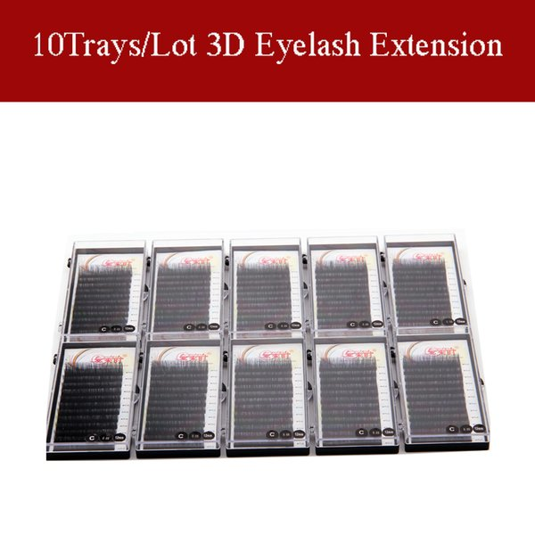 100% Hand Made Eyelash Extension Silk Mink Lashes Soft Material 10Trays/Lot Individual Lashes B C D Curl With Free shipping