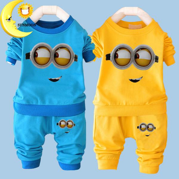 New Baby Boys Clothing Set Cartoon Casual Kids Minions Suits Infant Girls Long Sleeve Cotton Children Clothes Set T Shirt+Pants 2 PCS/Sets
