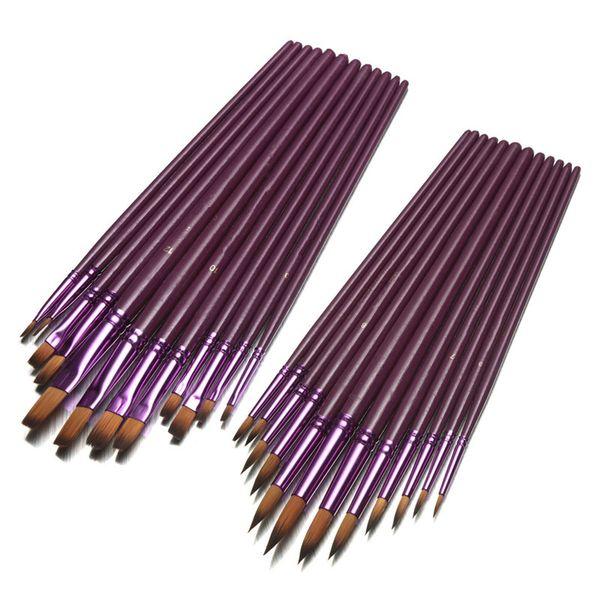 12 unids / pack Tamaño Diferente Artista Fine Nylon Pincel de Pelo Set Para Acrílico Acrílico Cepillos de Pintura Al Óleo Dibujo Arte Supplie